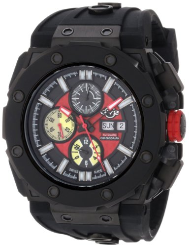 GV2 by Gevril Men's 8805 Corsaro Round Automatic-Chronograph Day-Date Sapphire Crystal Red Dial Rubber Water-Resistant Watch