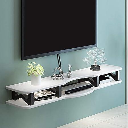 Gabinete de TV Colgante Brillante Simple En Blanco y Negro Muebles Modernos Estantes de enrutador Soporte de TV Flotante Rack de TV montado en la Pared (Color : White, Size : 130cm):