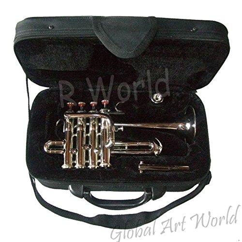 Global Art World Trumpet Piccolo 4 Valves Silver-Plated Cibaili With Case MI 0105