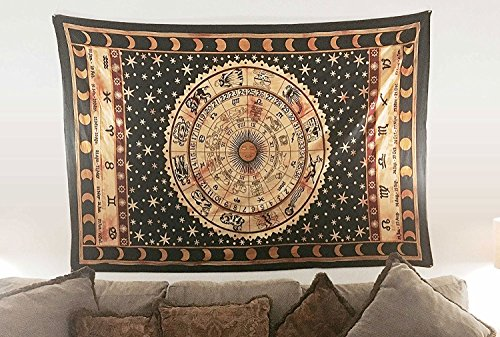 Indian-hippie-black Bohemian-psychedelic-astrology Zodiac-mandala Wall-hanging-tapestry-golden - Urban International Shipping Outfitters