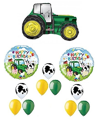 TRACTOR Shape John DEERE Green Yellow FARM Barn 12 Pce MYLAR & Latex Balloon Set C, (1) 66' Roll of Curling Balloon Ribbon in a coordinating (John Deere Farm Scene)