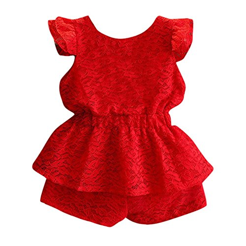 Fineser Toddler Girls Solid Lace Backless Tops+Shorts,2pcs Party Birthday Clothes Set (Red, 24M/18-24 Months)