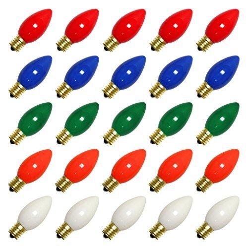 Vickerman 09760 - C9 Intermediate Screw Base Ceramic Multi-Color (25 pack) Christmas Light Bulbs -