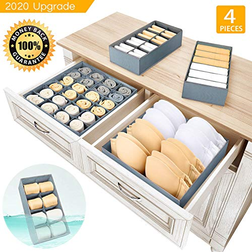 Underwear Organizer Dresser Drawer Organizer - Foldable Closet Drawer Dividers Washable Sock Organizer Storage Bra Box Fabric Bin for Baby Clothes,Panties,Lingeries,Ties,Belts,Set of 4