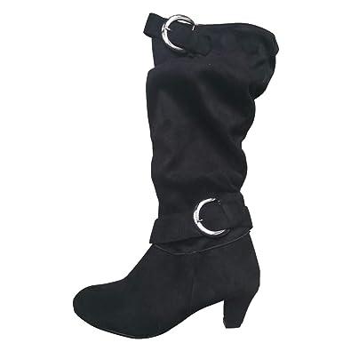 496f3a1b705 Vuticly Womens Kitten Heels Boots Mid Calf Knee high Zipper Buckle Slouchy  Shoes Winter Strappy Martin