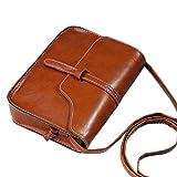 Ladie's PU Leather Vintage Crossbody Bag Shoulder Bag Fits iPhone 8 Plus 9 Colors (Brown)