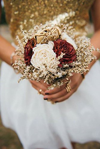 Small Rustic Wedding Bridesmaids Bouquets Made of Ivory and Gold Sola Flowers Burgundy Cedar Roses Dried Limonium Burlap Lace and Pearl Pins