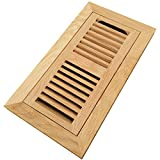 4 x 10 wood floor register - Homewell White Oak Wood Floor Register, Flush Mount Vent With Damper, 4x10 Inch, Unfinished