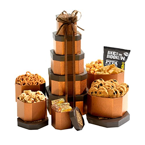 Broadway Basketeers Gift Tower of Sweets Gift Basket Perfect for Sympathy, Birthday, Housewarming, Retirement or Any Occasion
