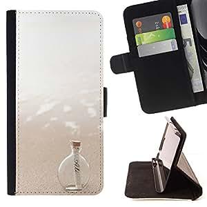 For HTC One M8 Case , Message In A Bottle Sea Sun Summer - la tarjeta de Crédito Slots PU Funda de cuero Monedero caso cubierta de piel