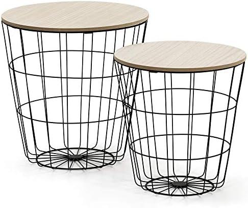VS Venta-stock Juego 2 mesas de Centro café Everest con Tapa de Madera Natural y Estructura de Metal en Negro: Amazon.es: Hogar