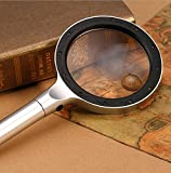 LED Magnifying Glass Large2.5X 5X Aluminum,Handheld magnifier glasses with light for Seniors Reading,Hobby,Jewelry,Computer Repair,Science Projects, Crafts,Maps,Insects,Great Gift for Seniors and Kids