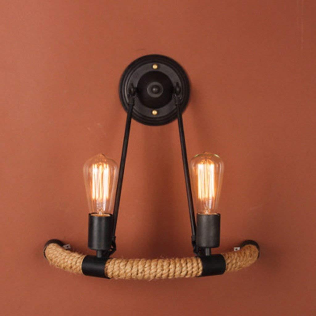 Wandleuchte Hanfseil Continental kreative Persönlichkeit und Wandleuchten Schlafzimmer 2 Scheinwerfer Gang Nachttischlampe modernes Wohnzimmer Wand Lampen