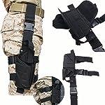 AGPTEK Etui à Pistolet Holster De Cuisse Pistolet Jambe Droite pour Armée Tactique en Nylon Noir et Réglable 6