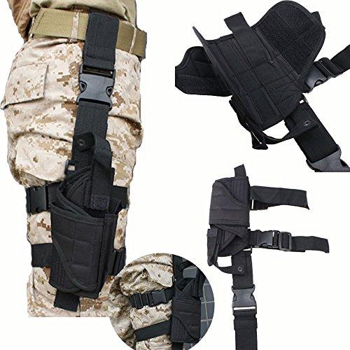 AGPTEK Etui à Pistolet Holster De Cuisse Pistolet Jambe Droite pour Armée Tactique en Nylon Noir et Réglable 1