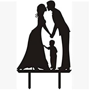 Acrylic Wedding Cake Toppers Birthday Stand Groom And Bride With Little Boy Family Party