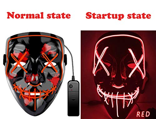 Halloween Mask LED Light up Mask Scary Frightening EL Wire Mask for Festival Parties Cosplay Costume for Man Women Kids Red -