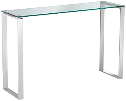 Superbe David 47 1/2u0026quot;W Modern Polished Stainless Steel Console Table