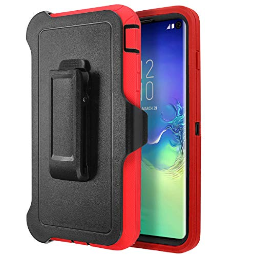 (Casa Galaxy S10 Plus Shockproof Case, Touch 3 in 1 Heavy Duty Holster Case Belt Clip + Armor Protective Kickstand Cover for Samsung Galaxy S10 Plus 6.4'' (Black+Red))