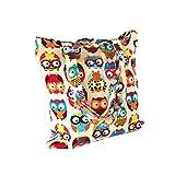 Nuni Women's Cute Owl Print Cotton Canvas Tote Bag (Colorful Owl/ No closure/ No lined)