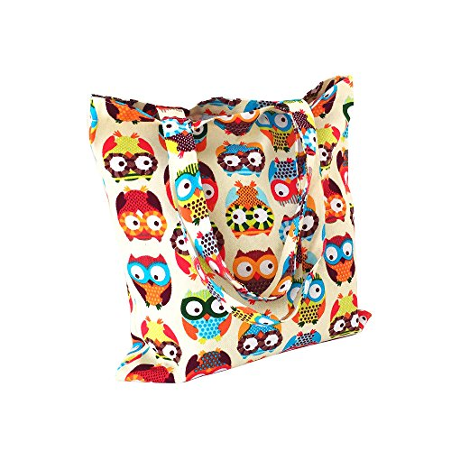 Flowertree Women's Cute Animal Print Canvas Tote Bag (L077-Colorful owl/Open) (Canvas Print Shopper)