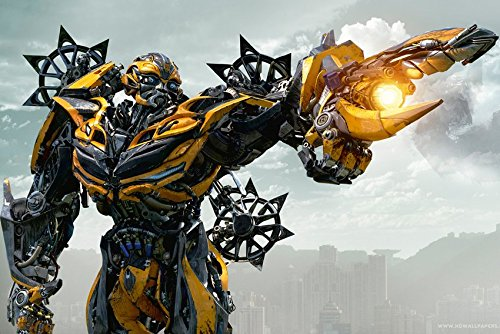 Tomorrow sunny Bumblebee in Transformers 4 Age of Extinction Movie Poster Art Wall Pictures for Living Room in Canvas fabric cloth Print ()