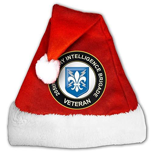 HADER Xmas 205th Military Intelligence Brigade Veteran Santa Hat Traditional Plush Christmas Hat