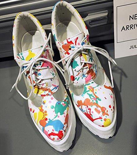 Easemax Kvinna Trendiga Sömmar Mesh Graffiti Snörning Plattform Hög Kilklack Sneakers Vit