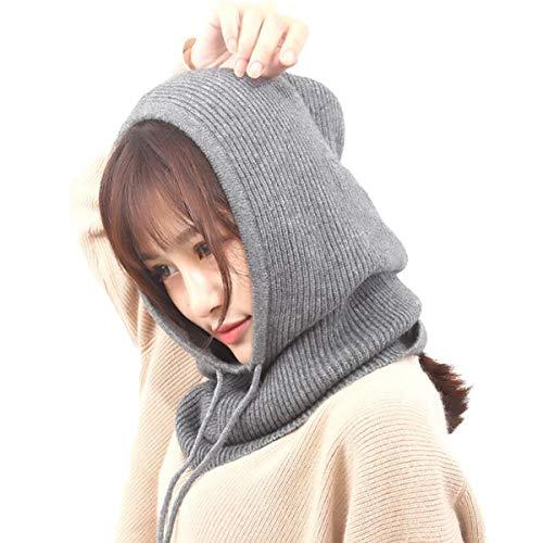 Hooded Cotton Cap - Facecozy Women Winter Cashmere Knit Hooded Collar Detachable Elastic Cap Warm Thick Wool Scarf Drawstring Beam Cap (Dark Grey)