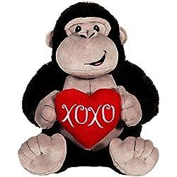 "Cute & Soft Valentines Stuffed Plush Gorilla Holding ""XOXO"" Heart, Grey, Black, & Red, Medium, 10.5"" x 7"" x 7.5"""