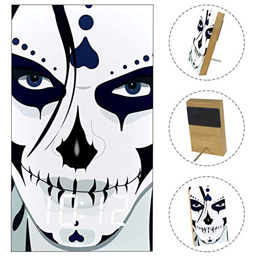 LORVIES Halloween Guy Makeup Style Desk Digital Clock LED Display Table Alarm Clock with USB Powered and Battery Operated