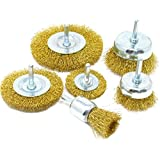 Wire Brush Kit for Drill (Set of 6) Brass-Coated
