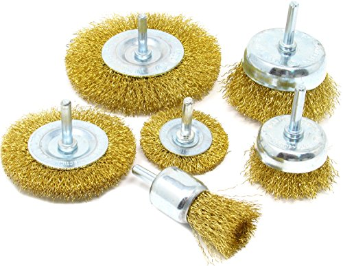 Coated Steel Wire Cup Brushes - Wire Brush Kit For Drill (Set of 6) Brass Coated