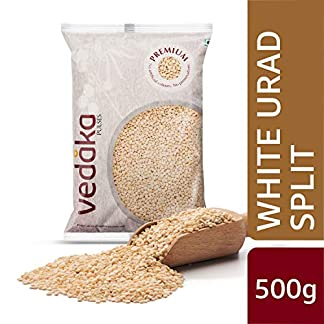 Amazon Brand – Vedaka Premium White Urad Split, 500g 51I3hF94fkL