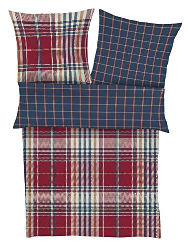 s.Oliver 6272-420 135x200cm Bettwäsche-Set, Biber, rot / blau, 200 x 135 x cm
