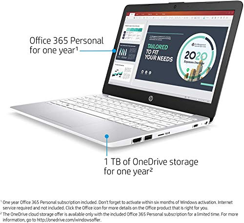 2020 Newest HP Steam 11.6 Inch Laptop, Intel Celeron N4000 up to 2.6 GHz, 4GB RAM, 32GB eMMC, WiFi, Bluetooth, HDMI, Webcam, Win 10 S, White + NexiGo 32GB MicroSD Card Bundle