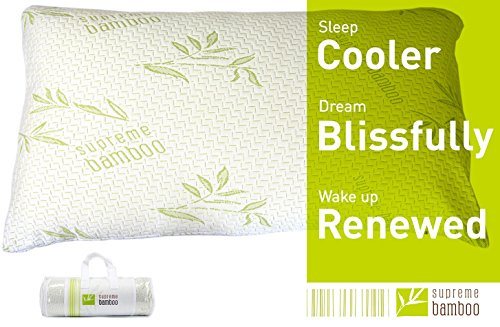 Supreme Bamboo Down Alternative Pillow with Memory Foam Liner Soft Comfort Stay Cool Bamboo Fabric...