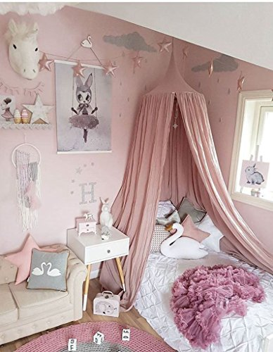 Artextile Cotton Round Dome Bed Canopy Kids Play Tent for Reading Mosquito Net Curtain,Height of 95 Inch (Pink) ()