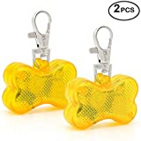 Higo LED Dog Tag, 2 Pack Bone-Shape Light up Pet ID Tag Safety Dog Collar Lights Pendants, for Safety Nighttime Dog Walking (Yellow)