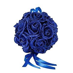 Beautiful Bridal Wedding Room Foam Artificial Flower Rose Ball Hanging Decor - Sapphire Blue zbtrade 93
