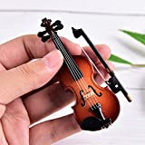Dengguoli Size 3 inch Mini Violin Dollhouse Miniature Musical Instrument Wooden Model Decor with Bow, Stand Support, and Case