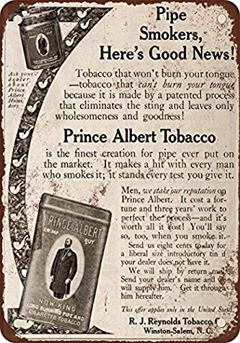 (Wall Decor 1910 Prince Albert Pipe and Cigarette Tobacco Vintage Look Reproduction Metal Tin Sign 8x12 Inches Restaurant Bar Pub Home Art Decor)