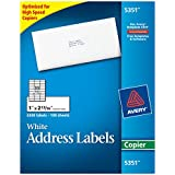 "Avery Self-Adhesive Address Labels for Copiers, White, 1"" x 2-13/16, 3300/Box (5351)"