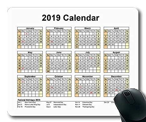 Yanteng 2019 Calendario Alfombrilla de ratón Juegos ...