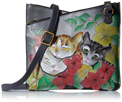 Women'S Kittens Painted Crossbody Three Multicompartment V Hand Anna Leather Anuschka Top vqwIEI