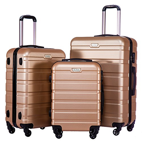 Price comparison product image Coolife Luggage 3 Piece Set Suitcase Spinner Hardshell Lightweight (champagne)