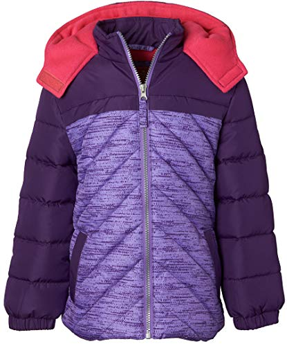 Purple Puffer - Pink Platinum Girls' Little Active Puffer Jacket, Purple, 6X
