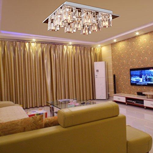 Lightess Chandelier Lighting LED Crystal Ceiling Light Fixtures Modern Flush Mount with 9 Lights in Square Shape by LIGHTESS (Image #1)