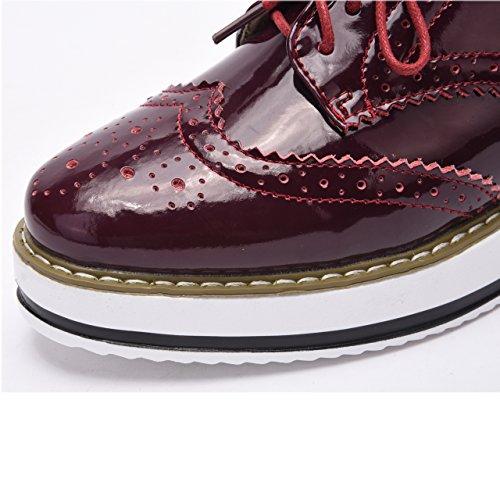 Moonwalker Zapatos con Cordones de Cuero Mujer Oxford Cuña Rojo Brillante