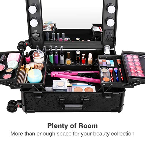 Ovonni Makeup Train Case, Lighted Rolling Travel Portable Cosmetic Organizer Box with Mirror & 4 Detachable Wheels, Professional Artist Trolley Studio Free Standing Workstation, Pattern Black by Ovonni (Image #1)